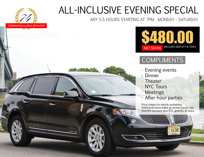Broadway Tickets and Dinner Sedan Special